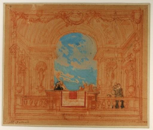 Pierre Victor GALLAND - Drawing-Watercolor - Fête vénitienne (projet de décor)