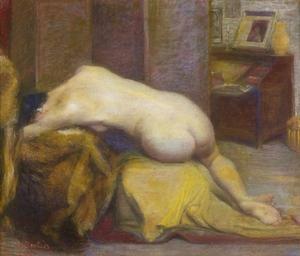 Jules DESBOIS - Dibujo Acuarela - Nu féminin allongé dans un intérieur