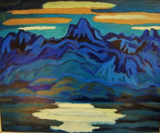 Henri CLAUSEN - Pintura - Blue mountains. Montagne bleu