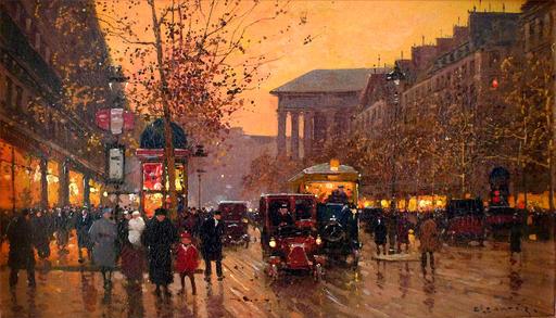 Édouard CORTES - Gemälde - Boulevard de la Madeleine, Crepuscule