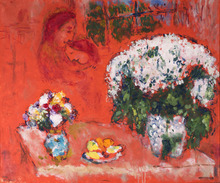 Marc CHAGALL - Painting - Les Fiancés sur Fond Rouge
