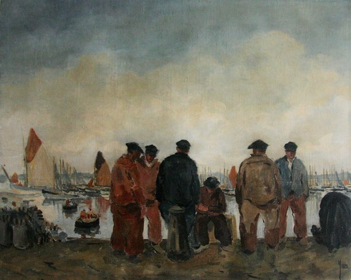 Robert YAN - Pittura - Marins sur les quais