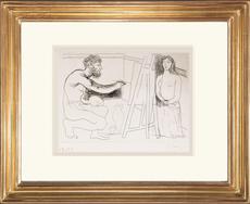 巴勃罗•毕加索 - 版画 - Peintre devant son Chevalet avec un Modèle