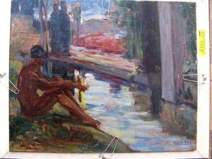 Mathilde ARBEY - Peinture - NU AU BORD DU BASSIN