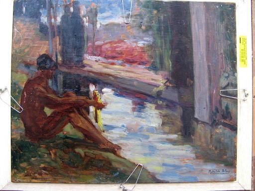 Mathilde ARBEY - Pintura - NU AU BORD DU BASSIN