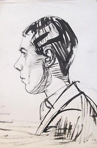 Erich HARTMANN - Disegno Acquarello - #19820: Junger Mann im Profil.