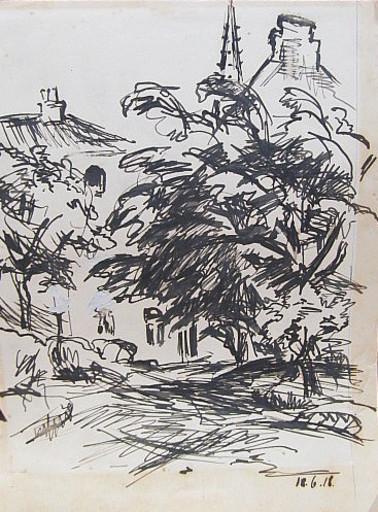 Erich HARTMANN - Disegno Acquarello - #19872: Baum vor Dorfhäusern.