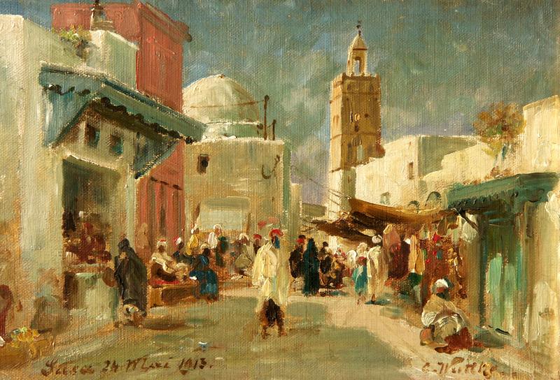 Carl WUTTKE - Pintura - Mercato a Susa