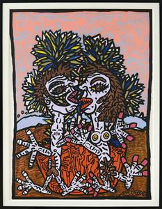 Robert COMBAS - Painting - Couple Bleuêt