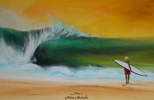 Rémi BERTOCHE - Painting - Single Surfer