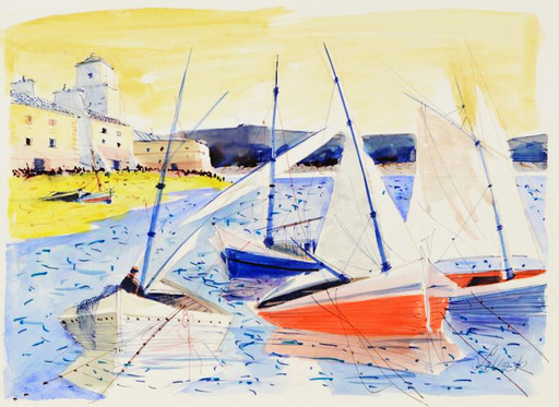 Charles LEVIER - Drawing-Watercolor - igned watercolor and ink SEA SCAPE rendering of boats