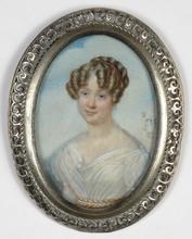 """Amélie D'AUBIGNY - Drawing-Watercolor - """"Portrait of a Lady"""" miniature, 1823"""
