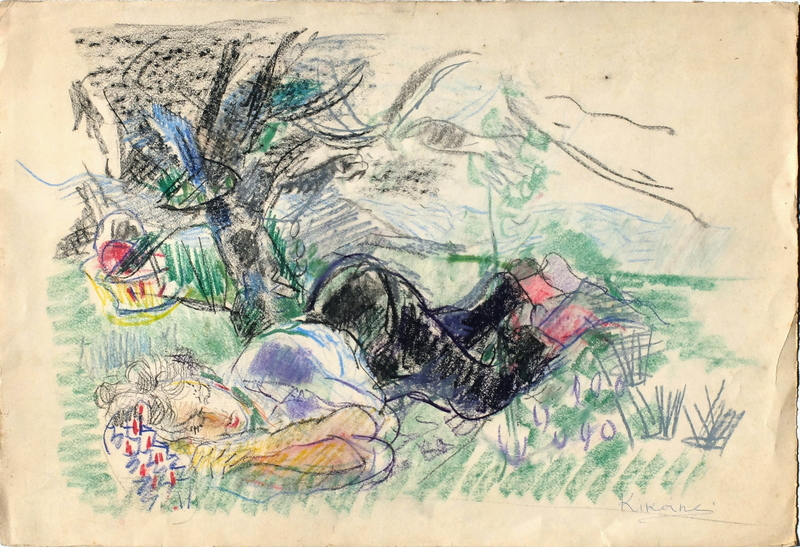 Michel KIKOINE - Dessin-Aquarelle - Le dormeur