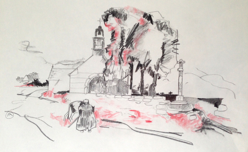 Mathurin MÉHEUT - Dibujo Acuarela - Bigoudène devant l'église