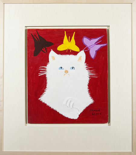 Maud LEWIS - Pittura - Portrait of White Cat & Framed Envelope