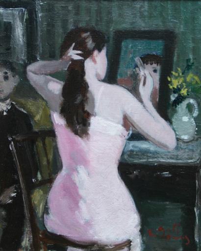 François GALL - Peinture - Jeune femme se coiffant
