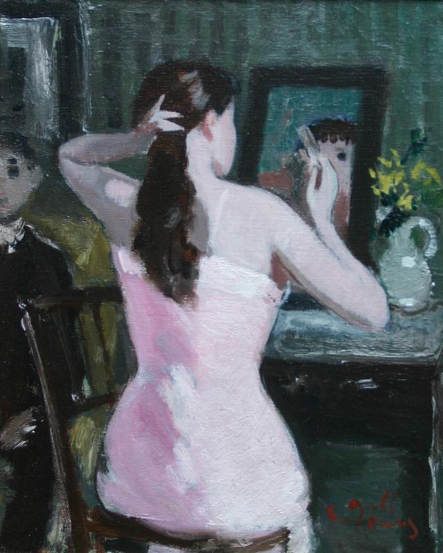 François GALL - Pintura - Jeune femme se coiffant
