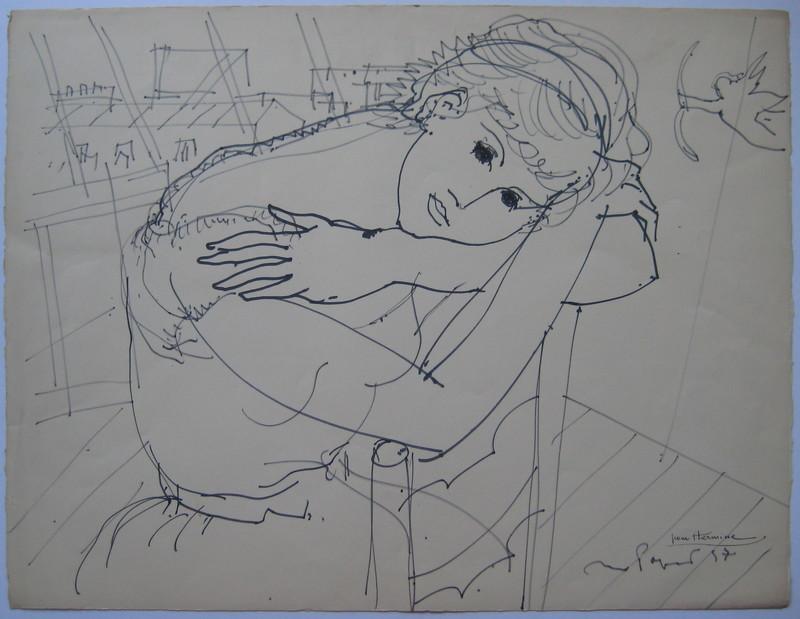 Max PAPART - Dessin-Aquarelle - DESSIN ORIGINAL AU FEUTRE 1957 SIGNÉ MAIN HANDSIGNED DRAWING