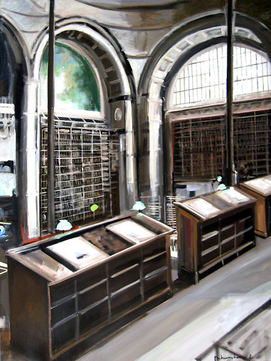 Christoff DEBUSSCHERE - Pintura - La bibliothèque de l'Institut