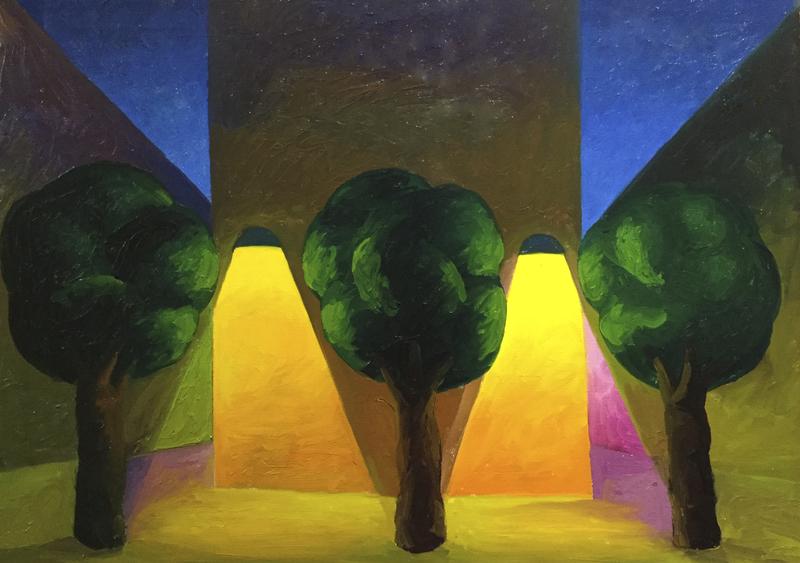 SALVO - Pintura - Alberi con lampioni