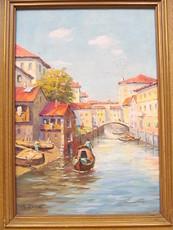 Hans QUAST - Painting - Kanal mit Gondeln - Venedig.