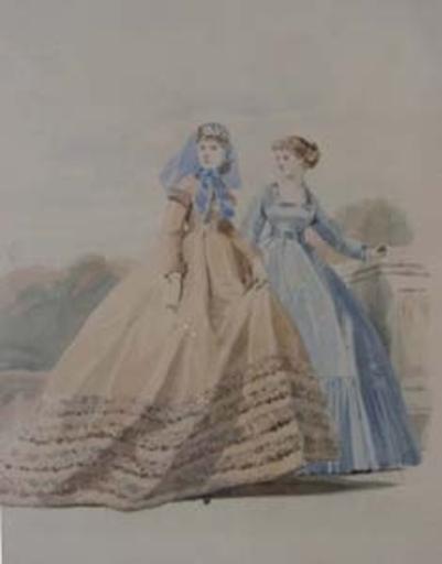Hippolyte Louis Em. PAUQUET - Dibujo Acuarela - Toilettes de Madame Pieffort Paris 1860