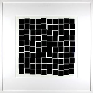 Véra MOLNAR - Drawing-Watercolor - De la série 100 carrés qui se bousculent