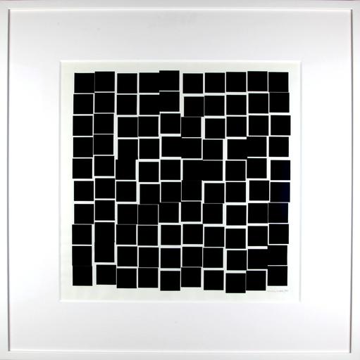 Véra MOLNAR - Disegno Acquarello - De la série 100 carrés qui se bousculent