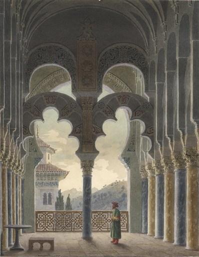 Jean-Lubin VAUZELLE - Drawing-Watercolor - L'Alhambra?