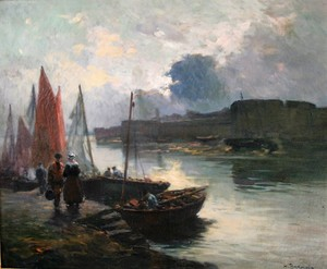 Henri Alphonse BARNOIN - Pintura - Retour de pêche à Concarneau, Bretagne