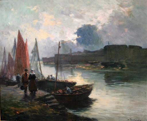 Henri Alphonse BARNOIN - Peinture - Retour de pêche à Concarneau, Bretagne