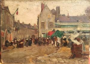 Pierre Léonce FURT - Painting - Marché en Bretagne