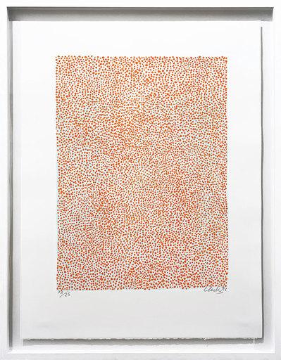 Günther UECKER - Print-Multiple - Permutation Orange auf Hellblau
