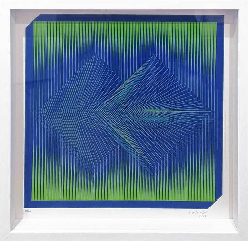 Alberto BIASI - 雕塑 - Grün-blaue Kinetik