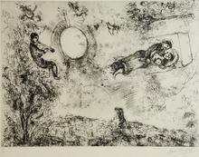 Marc CHAGALL (1887-1985) - Les Amoureux dans le ciel à St-Paul
