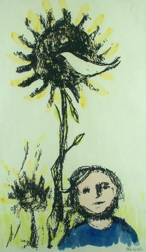 Frank KLEINHOLZ - Druckgrafik-Multiple - Boy with Bird and Sunflowers