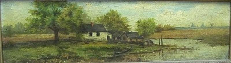 Carl Andreas DAHLSTRÖM - 绘画 - Fischerhaus am Fluß.
