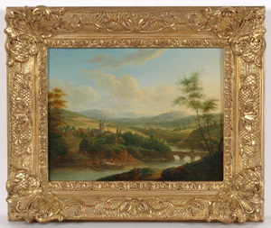 "Christian Georg I SCHÜZ, Christian Georg Schuetz (1718-1791) ""Romantic riverscape"""