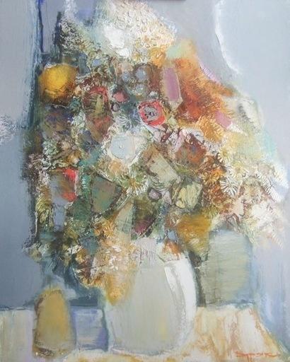 Borys BURYAK - Peinture - Bouquet de fleurs bleues