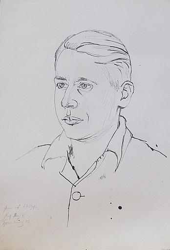 Erich HARTMANN - Disegno Acquarello - #19818: Porträt junger Mann.