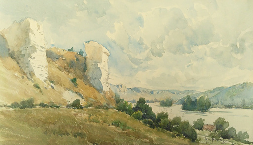 Émile APPAY - Dibujo Acuarela - Bords de Seine près de Vernon