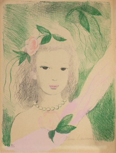 Marie LAURENCIN - Dessin-Aquarelle - Fillette a la rose