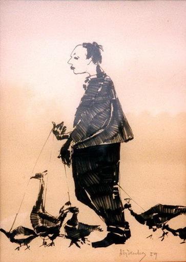 Alejandro GONZALEZ PASCUAL - Zeichnung Aquarell - estraño vendedor de aves