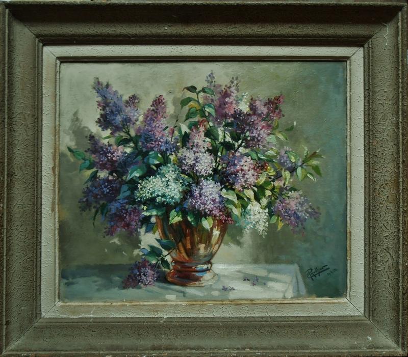 Emile PRODHON - Peinture - Bouquet de lilas