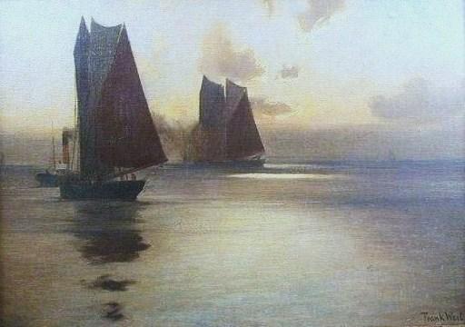 Franz MÜLLER-GOSSEN - Pintura - Le port de Hambourg Vers 1920