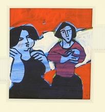 René QUÉRÉ (1932) - Deux femmes sur fond rouge