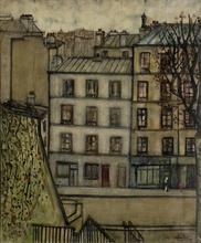 Edgar STOEBEL - Pintura - Montmartre, coin de la rue Gabrielle