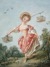 François BOUCHER - Painting - Le Petit dénicheur de merles/La Petite oiselière