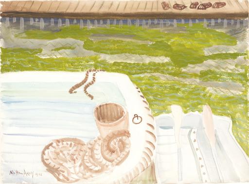 Milton Clark AVERY - Dessin-Aquarelle - Moored Boat
