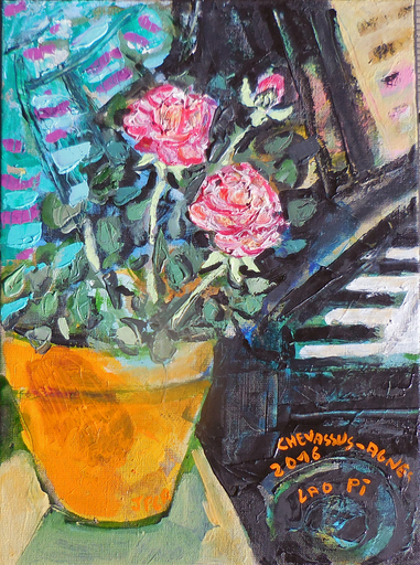 Jean-Pierre CHEVASSUS-AGNES - Peinture - Roses près du piano